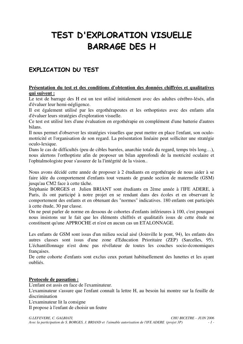 test de barrage