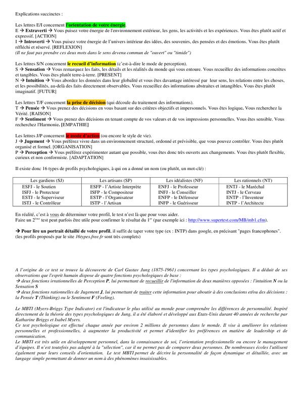 test de personnalite a imprimer