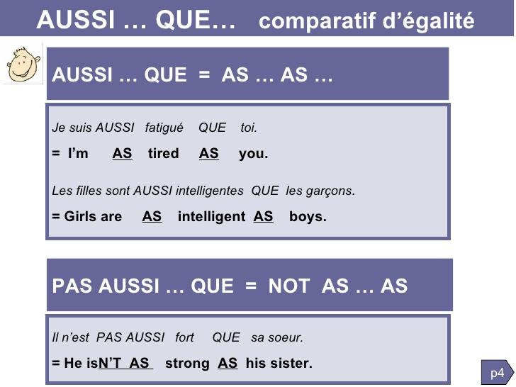 comparatif d'inferiorite anglais