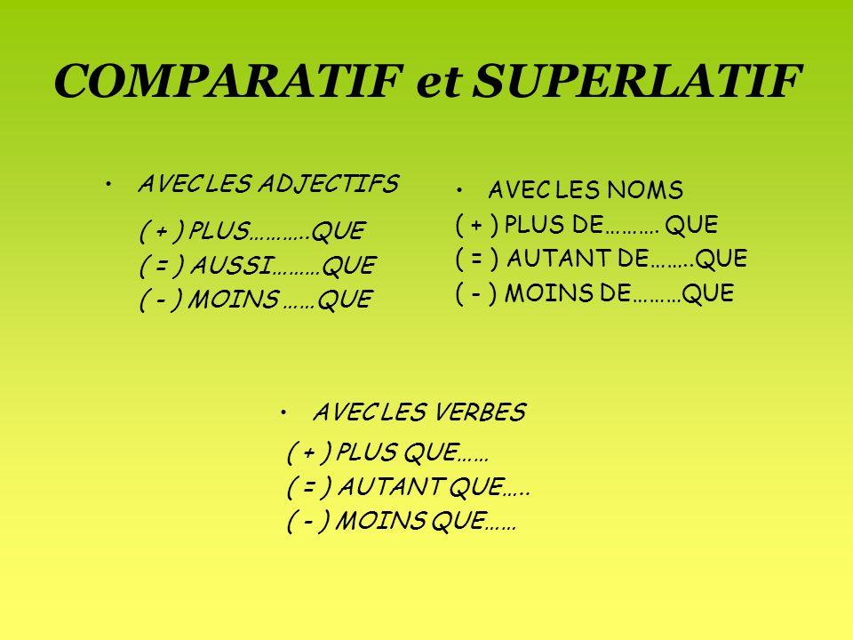 comparatif et superlatif